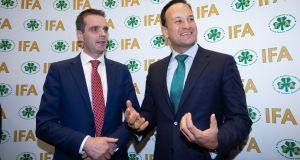 Irish Farmers' Association president Joe Healy with Taoiseach Leo Varadkar. File photograph: Tom Honan for The Irish Times