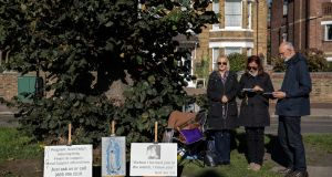 Anti-abortion protesters continue a vigil outside a Marie Stopes abortion clinic  in London. File photograph:  Dan Kitwood/Getty Images
