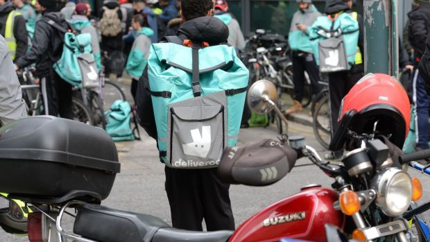 Deliveroo delivery staff protested in Dublin on Friday over attacks on them while they are working. Photograph: Alan Betson/The Irish Times