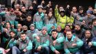 Up to 100 Deliveroo  delivery workers gathered at the Dublin offices of Deliveroo on Friday to protest over  attacks on them while they are working in the city. Photograph: Alan Betson/The Irish Times