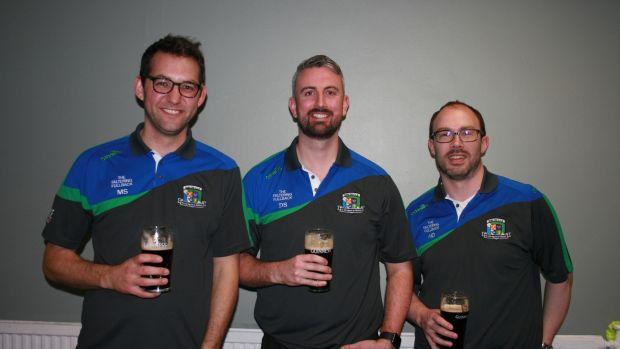 Players from the Eire Og Gaelic football team: Mick Savage (36) from Co Kildare, Damian Shannon (35) from Co Fermanagh and Nigel Drew (39) from Co Cork.