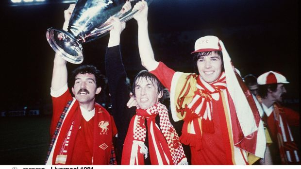 Graeme Souness, Kenny Dalglish and Alan Hansen with the European Cup in 1981. Photograph: Inpho