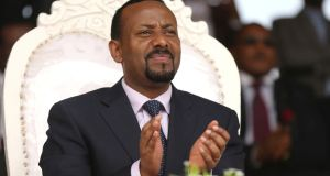Ethiopia's newly elected prime minister Abiy Ahmed attends a rally during his visit to Ambo in the Oromiya region, Ethiopia, in April 2018. Photograph: Tiksa Negeri/Reuters