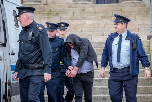 James Kavanagh is taken into custody after being sentenced to three years in prison for animal cruelty at Carlow Court. Photograph: Dylan Vaughan