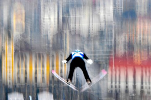 Finland's Eetu Nousianen soars in the air during his trial jump before the ski jumping event at the FIS Nordic World Ski Championships at Bergisel-Schanze in Innsbruck, Austria. Photograph: Joe Klamar/AFP/Getty Images