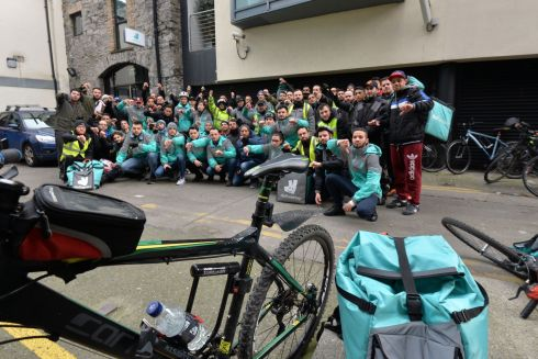 Some 80 to 100 Deliveroo drivers  gathered at the Offices of Deliveroo on Fleming Place in Dublin. The drivers wanted to raise their concerns with about personal safety but were met with closed offices.  Photograph: Alan Betson/The Irish Times