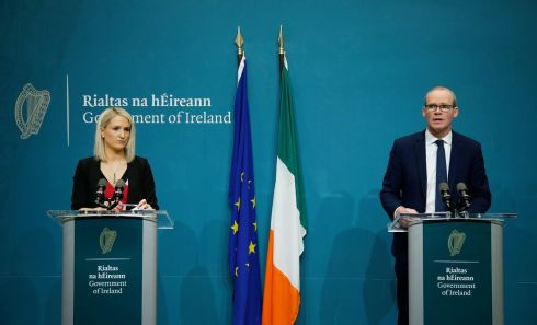 At the Publication of the document Withdrawal of the United Kingdom from the European Union in Government Buildings were Minister of State for European Affairs Helen McEntee with Tanaiste Simon Coveney.  Photograph Nick Bradshaw/The Irish Times