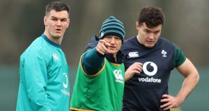 Johnny  Sexton, Joe Schmidt and Jacob Stockdale at Ireland training on Friday. Photograph: Billy Stickland/Inpho