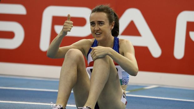 Scotland's Laura Muir celebrates after setting a new British indoor record, winning the women's one mile with a time of 4:18.75 – while wearing a pair of Nike prototype track spikes built on the same foam and carbon-fibre plate in that of Vaporflys. Photograph: Getty Images