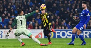 Gerard Deulofeu beats Neil Etheridge to score Watford's thrd goal. Photograph:  Stu Forster/Getty Images