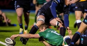 Connacht's Kyle Godwin reaches over the line for a try that  was later disallowed during the Guinness Pro 14 game against Glasgow Warriors at  Scotstoun. Photograph: Craig Watson/Inpho