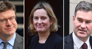 Greg Clark, Amber Rudd and David Gauke, who have issued a blunt warning to Tory Brexiteers that UK parliament will prevent them forcing a 'disastrous' no-deal break with the EU. Photograph: PA Wire