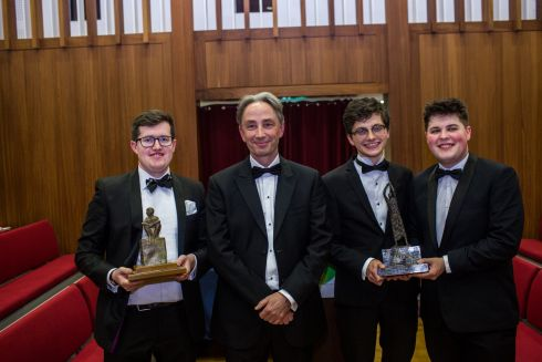 The Irish Times Debate 2018 grand final: Kevin Roche (The King's Inn) (left) - winning individual speaker - along side Irish Times Editor Paul O'Neill and grand final winners, Trinity History students Daniel Gilligan and Ronan Daly. Photograph: James Forde/The Irish Times