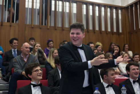 The black-tie event, hosted by UCD Law Society, was marked by frequent clashes regarding the status of Irish neutrality with a proposition claiming the status quo to be a sham. Photograph: James Forde/The Irish Times