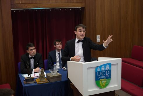 Rory O'Sullivan from Trinity speaks at the final; the competition is an all-island debating championship, open to any full time third level student. Photograph: James Forde/The Irish Times