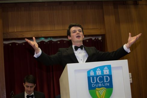 Harry Higgins from Trinity College speaks at the debate finals. Photograph: James Forde/The Irish Times