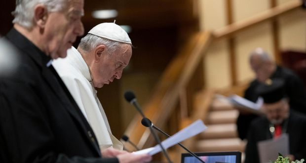 Pope Francis attending the third day of a summit at the Vatican on sex abuse in the Catholic Church. Photograph: AFP/Vatican media