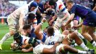 France's Gregory Alldritt scores their third try. Photograph: James Crombie/Inpho