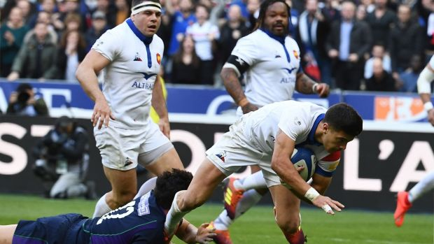 France outhalf Romain Ntamack scores the opening try. Photograph: Anne-Christine Poujoulat/Getty Images