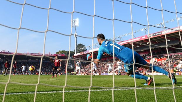 Bournemouth's Joshua King scores from the penalty spot in the Premier league game against Wolves at Vitality stadium. Photograph: Mike Hewitt/Getty Images