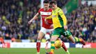 Kenny McLean scores  Norwich City's second goal  during the t Championship match against  Bristol City at Carrow Road. Photograph: Stephen Pond/Getty Images