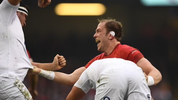 Alun Wyn Jones clashes with Jamie George during the match. Photograph: Stu Forster/Getty Images