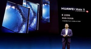 Richard Yu, chief executive of Huawei Consumer Business Group, presents the new Mate X mobile at the Mobile World Congress 2019 in Barcelona. Photograph: EPA/Andreu Dalmau