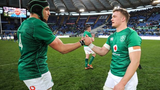 Ultan Dillane and Josh van der Flier after the match. Photograph: Billy Stickland/Inpho