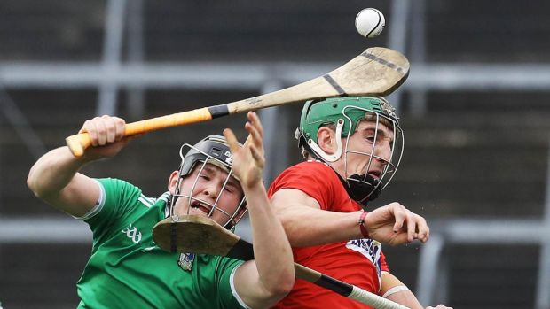 Limerick's Mikey O'Brien and Aidan Walsh of Cork in action during the Allianz Hurling League Division 1A match at the Gaelic Grounds in Limerick. Photograph: Lorraine O'Sullivan/Inpho