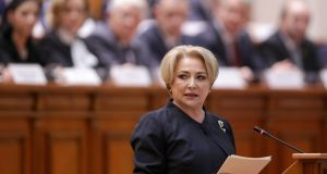 Romanian prime minister Viorica Dancila said she would meet leaders of magistrates' associations on Monday to discuss the disputed reforms. Photograph: Octav Ganea/Reuters