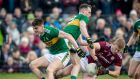 Galway's Ciaran Duggan with Mark Griffin and Sean O'Shea of Kerry during their Allianz League Division One encounter. Photo: Morgan Treacy/Inpho