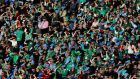 Ireland fans cheer on the side during the Six Nations match between Italy and Ireland at Stadio Olimpico in Rome.  Photograph: Paolo Bruno/Getty Images