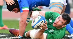 Ireland flanker and captain Peter O'Mahony passes the ball during their victory over Italy in the Six Nations in   Vincenzo Pinto/AFP