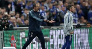 Chelsea manager Maurizio Sarri  reacts as his goalkeeper Kepa Arrizabalaga refuses to leave the pitch after his proposed substitution during the Carabao Cup Final at Wembley.  Photograph:  Nick Potts/PA