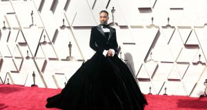 Showstopper: Billy Porter in a tux gown by Christian Siriano at the Academy Awards on Sunday in Hollywood. Photograph:   Frazer Harrison/Getty Images