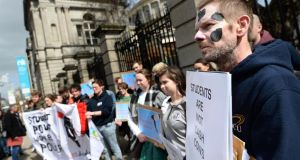 Students protesting outside the Dáil over student  rent increases last year.  Photograph: Dara Mac Dónaill/The Irish Times