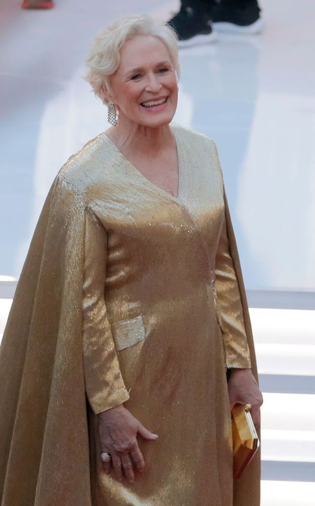 Glenn Close in an Oscar-statuesque gold cape gown by Wes Gordon at Carolina Herrera. Photograph: Lucas Jackson/Reuters