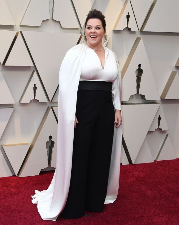 Melissa McCarthy was one of several stars opting for two-piece tailoring. Photograph: Mark Ralston/AFP/Getty Images