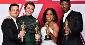 Oscars 2019: Rami Malek, Olivia Colman, Regina King and Mahershala Ali, who won the four acting awards. Photograph: Frederic J Brown/AFP/Getty
