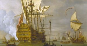 The English Ship 'The Royal Sovereign' with a royal yacht in a Light Air by William van de Veld the Younger. Image: Wikimedia Commons