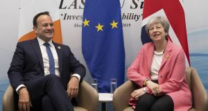 Taoiseach Leo Varadkar and British prime minister Theresa May held bilateral talks at the margins of the first Arab-European Summit in Sharm El Sheikh, Egypt. Photograph: Getty