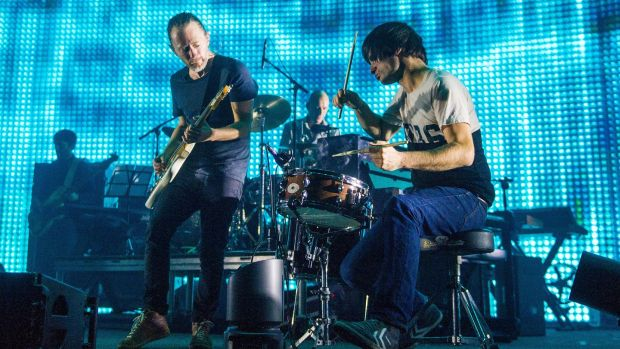 A Radiohead Compendium edited by Barney Hoskyns is an anthology of writings about the band and demonstrates their compositional intelligence and dystopian purview. Photograph: Samir Hussein/Referns