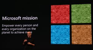 Microsoft chief executive Satya Nadella presents to the Mobile World Congress in Barcelona on Monday. Irish company Cubic Telecom announced a new collaboration with Microsoft at the mobile industry's annual showcase. Photograph: Sergio Perez/Reuters