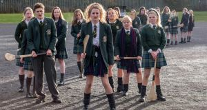 Dylan Llewellyn, Saoirse Monica-Jackson, Jamie-Lee O'Donnell, Nicola Coughlan and Clare Harland in Derry Girls, Tuesday on Channel 4