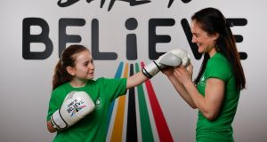 Kellie Harrington, Irish World Champion boxer, and Tilly Byrne-McGettigan, age 10, from Wicklow teamed up with the Olympic Federation of Ireland to launch Dare to Believe, a school activation programme championed and supported by the Athletes' Commission. Photo: Seb Daly/Sportsfile