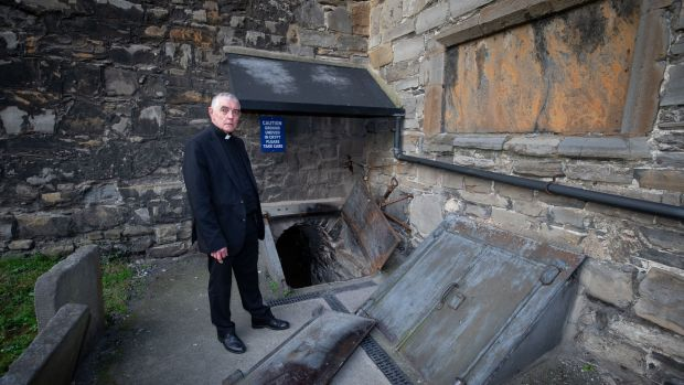 Archdeacon Pierpoint at the crypt at St Michan's Church. Photograph: Tom Honan.