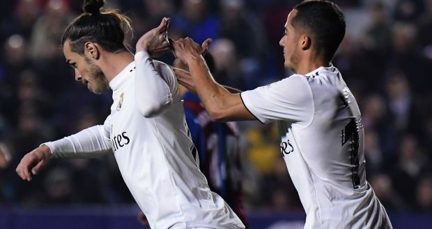 321ff8a98 Real Madrid s Gareth Bale shrugs off teammate Lucas Vazquez after scoring in  their LaLiga win over
