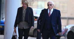 Trevor Hicks, whose two teenage daughters were killed in the Hillsborough stadium disaster, arrives for the trial of David Duckenfield and Graham Mackrell at Preston crown court. Photograph: Peter Byrne/PA Wire