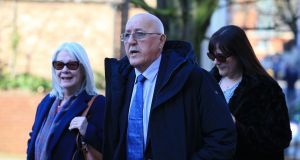 Barry Devonside, whose son was killed in the Hillsborough stadimum disaster,  arrives at Preston crown court on Monday for the trial of David Duckenfield and Graham Mackrell. Photograph: Peter Byrne/PA Wire