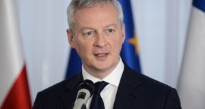 French finance minister Bruno Le Maire is to  deliver a talk on economic policy at the International Institute for European Affairs in Dublin. Photograph: Jakub Kaminski/EPA